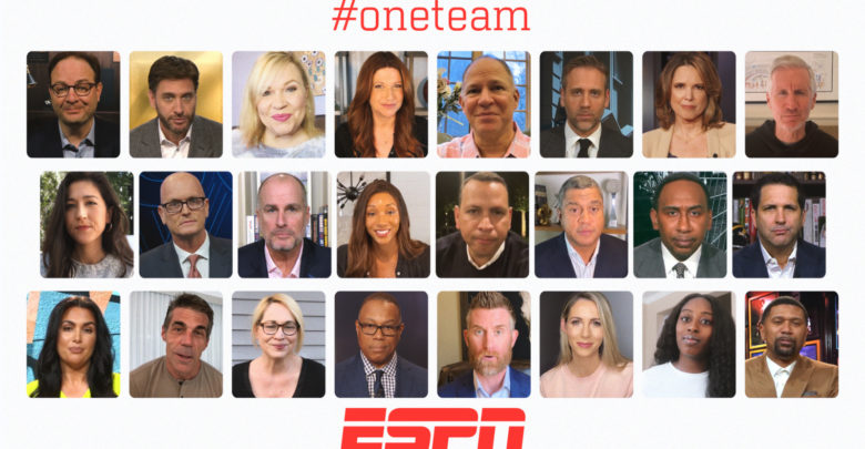 Photo of 24 Voices Deliver ESPN's #oneteam COVID-19 Message From Homes